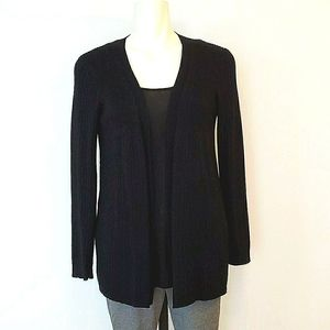 Pointelle Black Mid Length Cardigan Size Medium